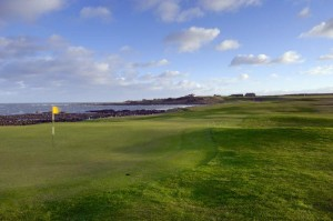 Crail Balcmie 2nd green looking back to 2nd tee
