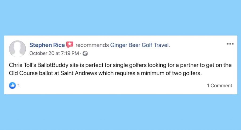 Facebook review for BallotBuddy S Rice, Ginger Beer Golf Travel