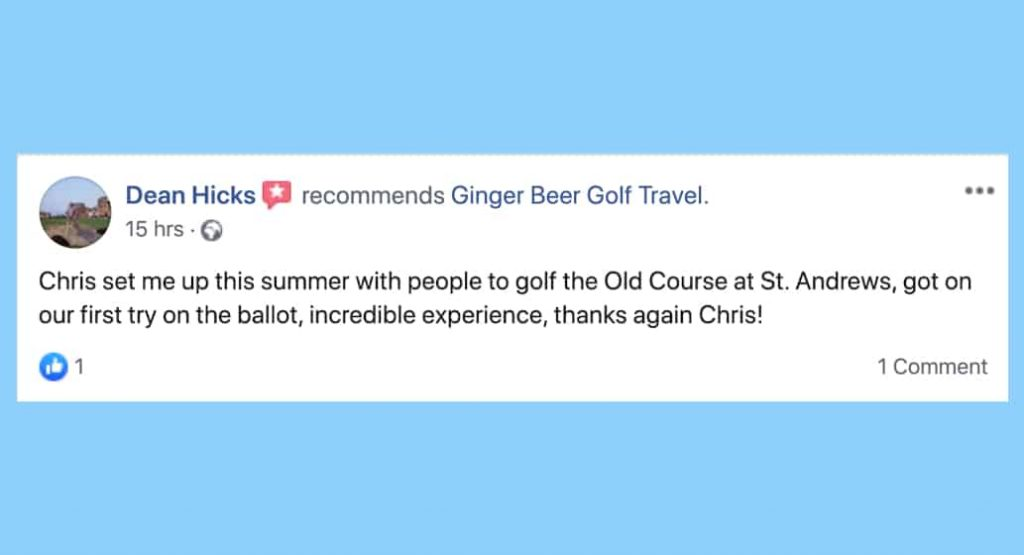 Facebook review for BallotBuddy D Hicks, Ginger Beer Golf Travel