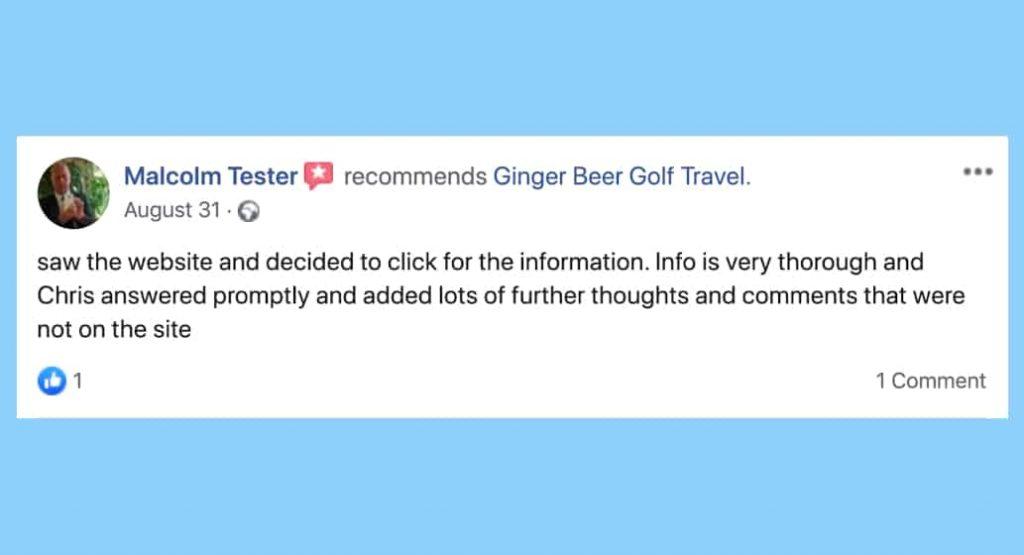 Facebook review for BallotBuddy M Tester, Ginger Beer Golf Travel