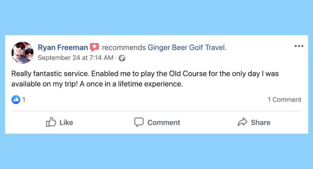 Facebook review for BallotBuddy R Freeman, Ginger Beer Golf Travel
