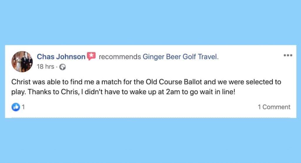 Facebook review for BallotBuddy C Johnson, Ginger Beer Golf Travel
