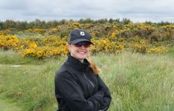Scottish Links Golf - Royal Dornoch - golfer and gorse