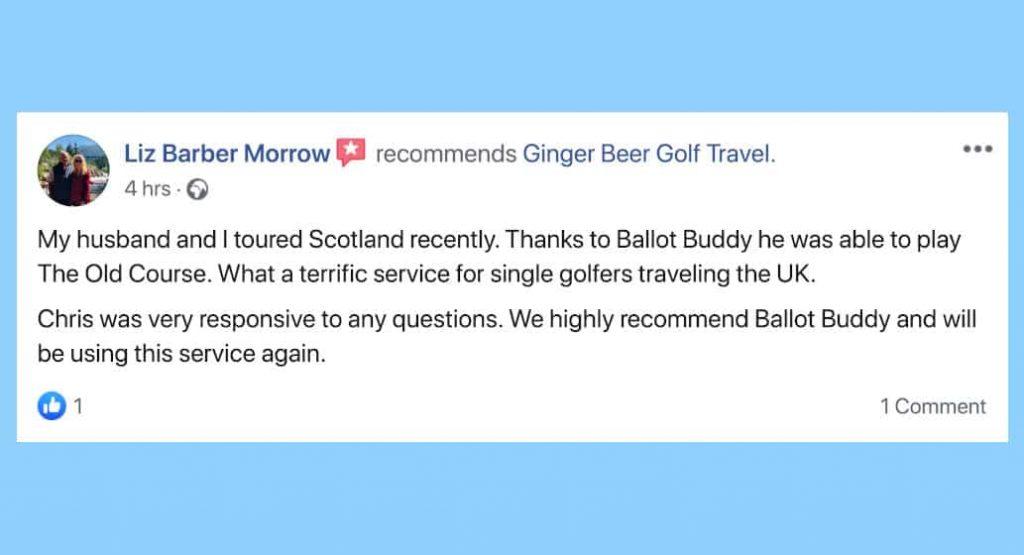 Facebook review for BallotBuddy Craig Morrow, Ginger Beer Golf Travel
