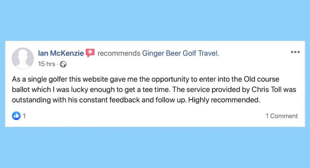 Facebook review for BallotBuddy IMcKenie, Ginger Beer Golf Travel