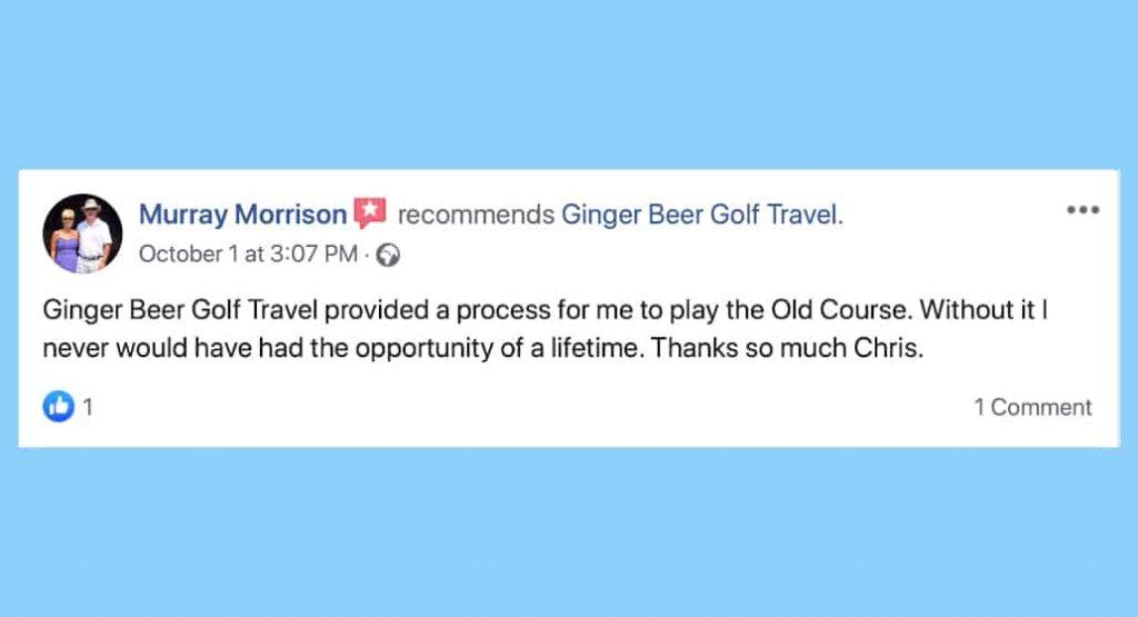 Facebook review for BallotBuddy M Morrison, Ginger Beer Golf Travel